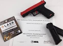 This course teaches basic marksmanship fundamentals and firearm safety using a simulated pistol with a resetting trigger and laser to indicate where the shots hit.